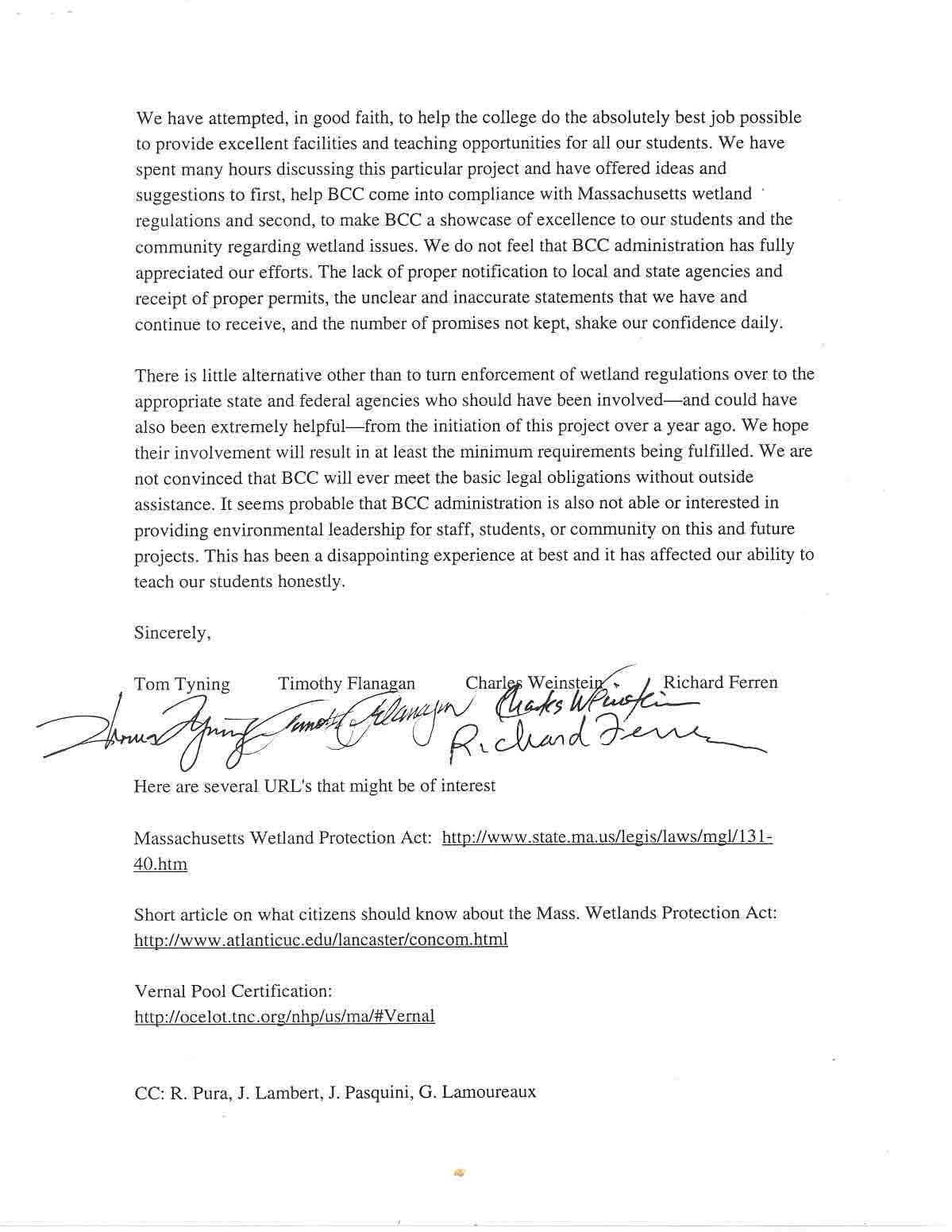 Letter From Bcc Faculty Berkshire Environmental Action Team