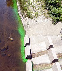 Green stuff going into Housatonic River