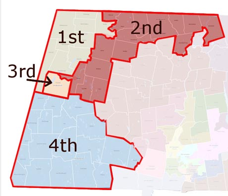 Map of state congressional districts for Massachusetts