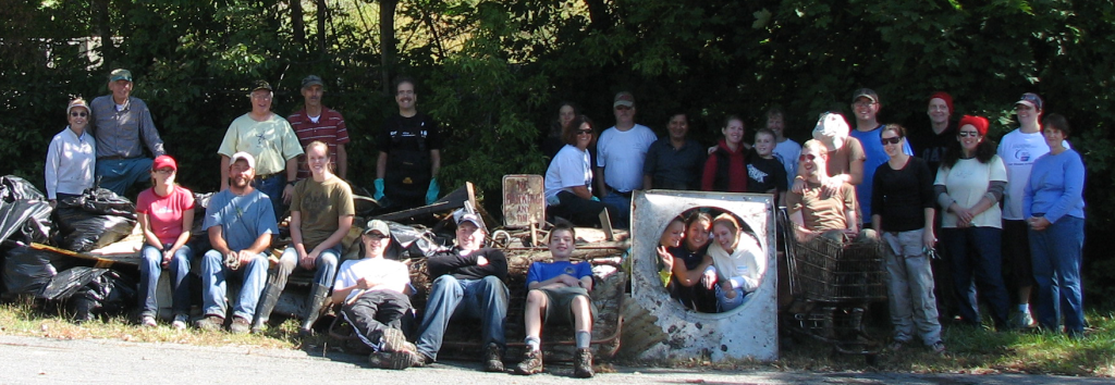 Photo of one of our river cleanup crews after a cleanup