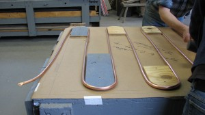 Copper tubing on template