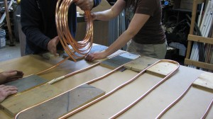 Bending copper tubing