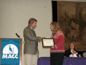 Photo of Jane Winn, executive director of Berkshire Environmental Action Team, receiving Environmentalist of the Year award