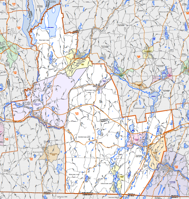 Map of 1st Hamden state congressional district for Massachusetts